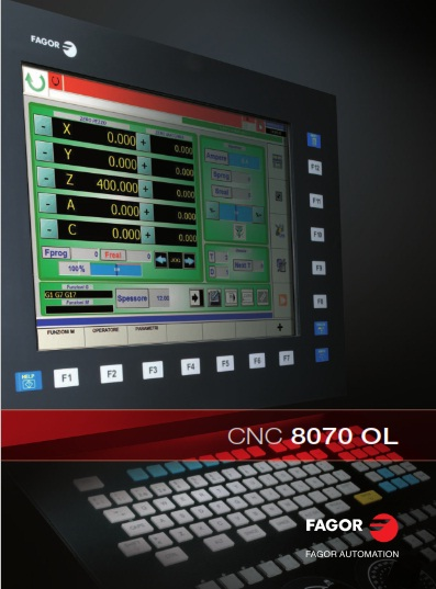 The CNC FAGOR 8070 is a CNC control of the latest generation, that combines high end performance features and highest operation flexibility. This high-performant CNC links knowledge and technical competence of Fagor to the world standard in the PC field. It is possible to control up to 28 axes (interpolated simultaneously), four main spindles, four tool magazines, and four processing channels - CNC FAGOR 8070是最新一代的CNC控制系统,结合了高端性能特点和最高的操作灵活性。 这个高性能的CNC将Fagor的知识和技术能力连接到PC领域的世界标准, 可以控制多达28个轴(同时插补),四个主轴,四个刀库和四个加工通道